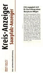 2013 01 02 Artikel Kreisanzeiger Skulpturenweg