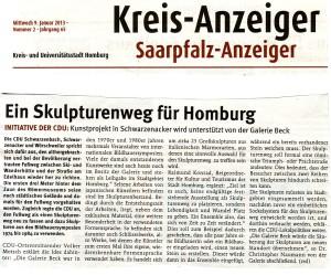 2013 01 09 Kreisanzeiger Skulpturenweg